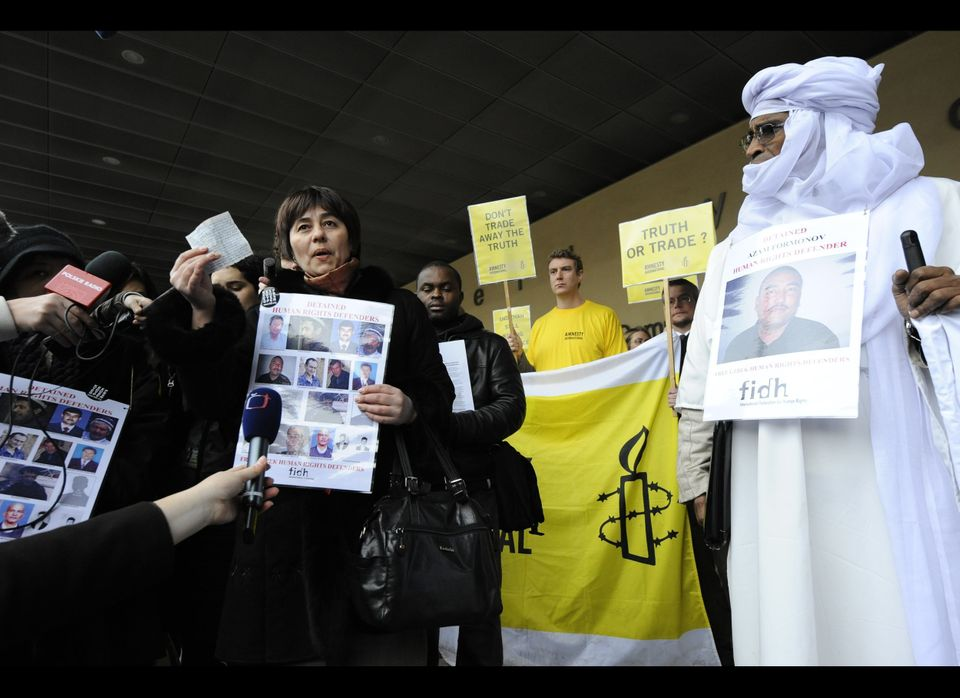 Uzbek human-rights activists Nadejda Atayeva speaks to journalists on January 24, 2011 during a rally in favor of detained Uz