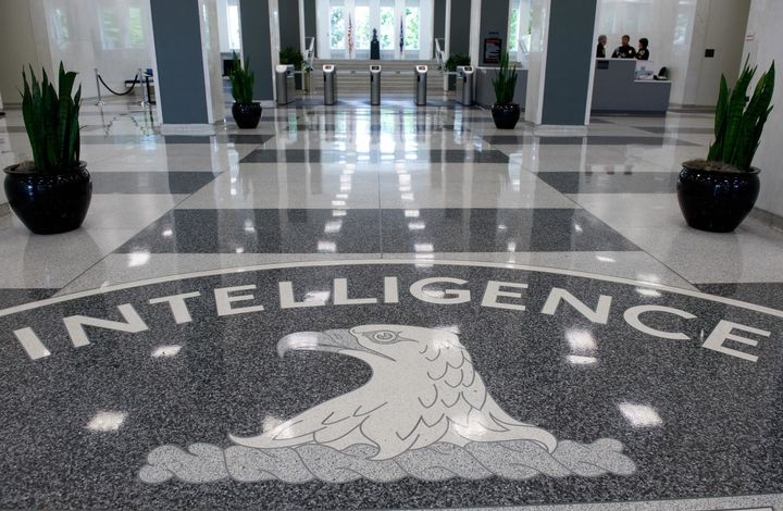 The Central Intelligence Agency (CIA) logo is displayed in the lobby of CIA Headquarters in Langley, Virginia, on August 14,
