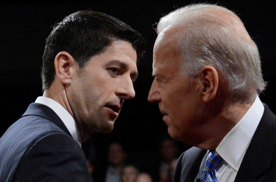 Vice President Joe Biden and Republican vice presidential nominee Rep. Paul Ryan of Wisconsin shake hands after the vice pres