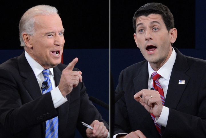 A combination picture of the vice presidential debate between US Vice President Joe Biden (L) and Republican vice presidentia