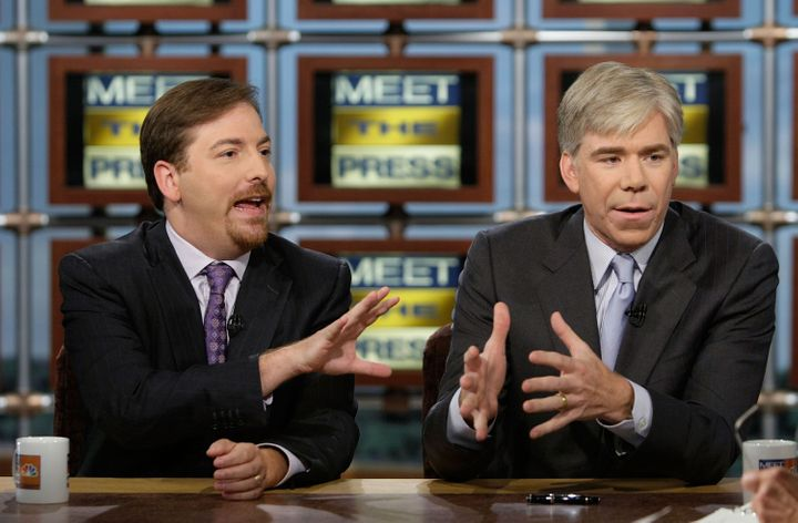 WASHINGTON - JULY 20:  (AFP OUT) NBC News Political Director Chuck Todd (L) and NBC Chief White House Correspondent David Gre