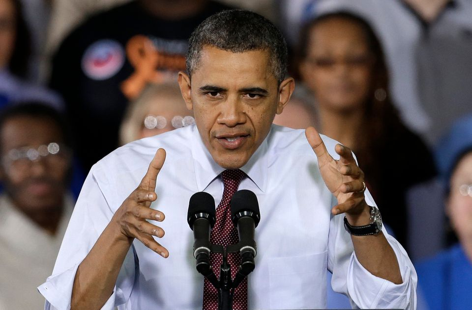 President Barack Obama speaks to workers about the economy during a visit to Daimler Detroit Diesel in Redford, Mich., Monday