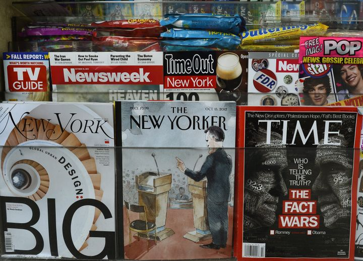 The New Yorker magazine's October 15 edition is diplayed in an Upper East Side newstand in New York  on October 9, 2012. The