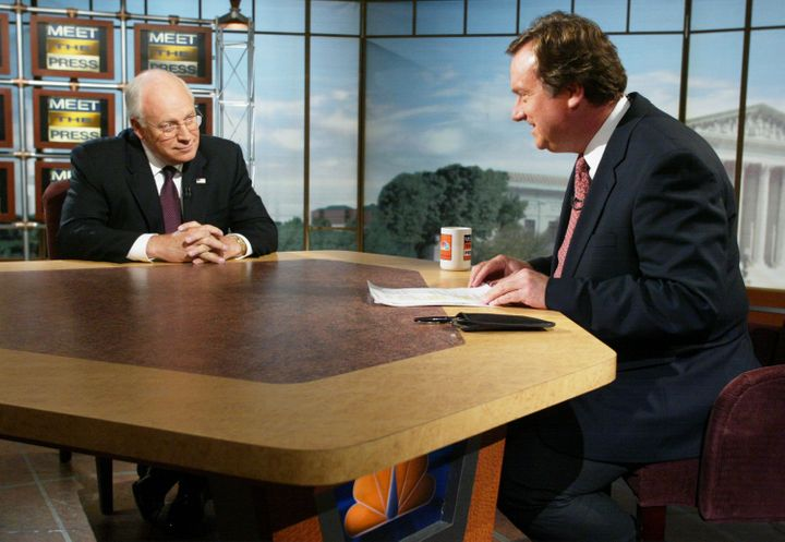 WASHINGTON - SEPTEMBER 8:  U.S. Vice President Dick Cheney (L) is interviewed by moderator Tim Russert on NBC's 'Meet the Pre