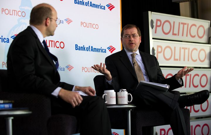 Americans for Tax Reform President Grover Norquist (R) talks with Politico Chief White House Correspondent Mike Allen (L) dur