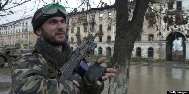 382535 12: A Russian soldier patrols in central Grozny November 23, 2000, capital of the breakaway republic of Chechnya. Russian forces have been accused of massive human rights abuses such as hostage-taking, beatings and executions against civilians, since beginning what Moscow calls an 'anti-terrorist' campaign to crush separatist Chechen rebels last fall. (Photo by Scott Peterson/Liaison)