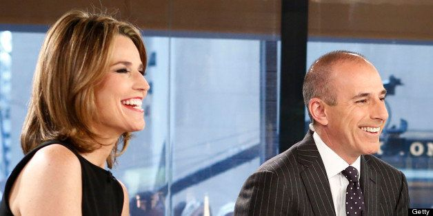 TODAY -- Pictured: (l-r) Savannah Guthrie, Matt Lauer and A.J. Clemente appear on NBC News' 'Today' show -- (Photo by: Peter