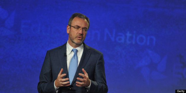 NBC NEWS-EVENTS -- Education Nation: New York Summit, Day 3 -- Pictured: President of NBC Steve Capus speaks onstage at NBC N