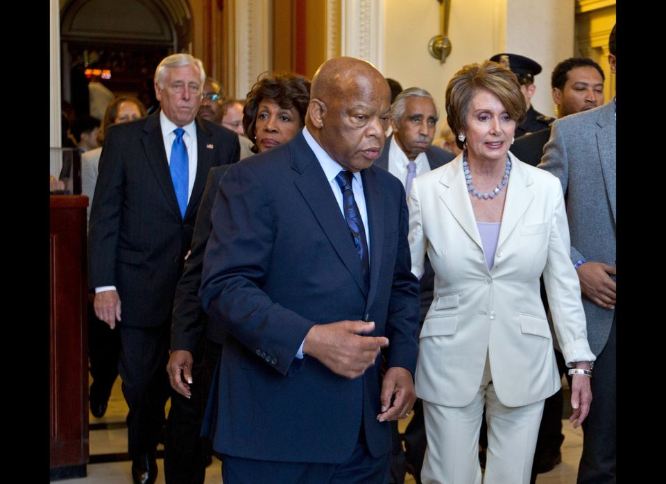 From left, House Minority Whip Steny Hoyer of Md., Rep. Maxine Waters, D-Calif., Rep. John Lewis, D-Ga., Rep, Charles Rangel,