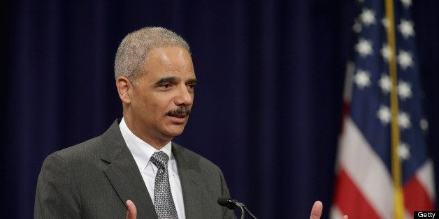WASHINGTON, DC - MAY 29: U.S. Attorney General Eric Holder delivers remarks during the Justice Department Inspector General's annual awards ceremony in the Great Hall at the Robert F. Kennedy Department of Justice building May 29, 2013 in Washington, DC. After it was revealed that the Justice Department was investigating journalists from the Associated Press and FOX News, the department began contacting major print and broadcast news organization bureau chiefs to set up a meeting this week with Holder to discuss changes to guidelines for subpoenas to news organizations. (Photo by Chip Somodevilla/Getty Images)