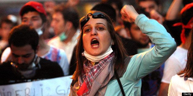 Protesters shout anti-government slogans during a demonstration in Ankara on June 4, 2013. Turkey's Islamic-rooted government