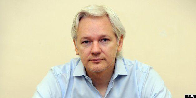 EMBARGOED UNTIL 0001GMT ON WEDNESDAY, JUNE 19, 2013  Wikileaks founder Julian Assange speaks to the media inside the Ecuadori