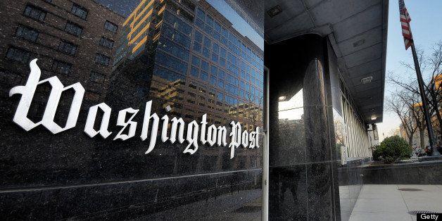 WASHINGTON, DC - FEBRUARY 20: Exterior view of the Washington Post building on L street on February, 20, 2013 in Washington,