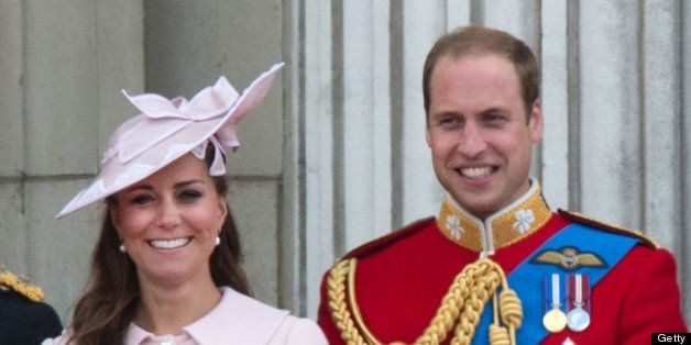 LONDON, UNITED KINGDOM - JUNE 15:  Catherine, Duchess of Cambridge and Prince William stand on the balcony during the annual