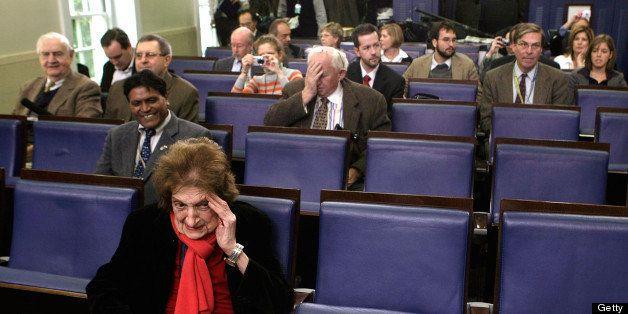 WASHINGTON - NOVEMBER 12:  Veteran White House journalist Helen Thomas, (front) waits prior to the White House daily briefing
