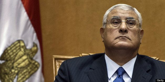 Egypt's chief justice Adly Mansour pauses during his swearing-in ceremony as Egypt's interim president in the Supreme Constit