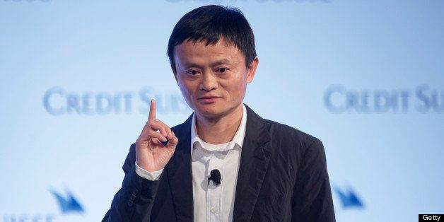 Jack Ma, chairman of Alibaba Group Holding Ltd., gestures as he speaks during the Credit Suisse Asian Investment Conference i