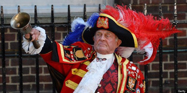 Town Crier Tony Appleton announces the birth of Prince William and Catherine Duchess of Cambridge's baby boy outside of the L