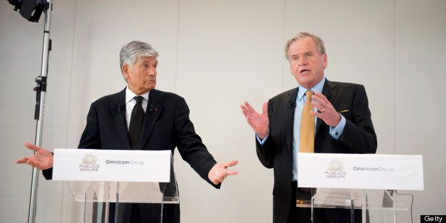 Maurice Levy, chief executive officer of Publicis Groupe SA, left, and John Wren, chief executive officer of Omnicom Group In