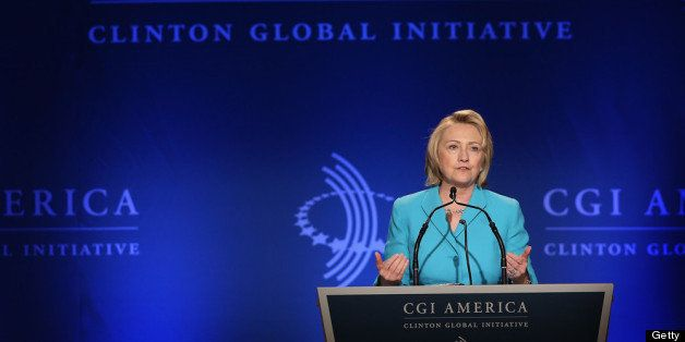 CHICAGO, IL - JUNE 13:  Former Secretary of State Hillary Clinton speaks to guests at the Clinton Global Initiative (CGI) on