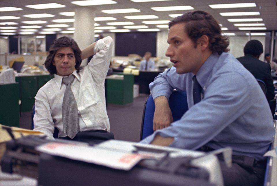 FILE - In this May 7, 1973, file photo, reporters Bob Woodward, right, and Carl Bernstein, whose reporting of the Watergate c