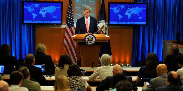US Secretary of State John Kerry speaks on Syria at the State Department in Washington, DC, on August 26, 2013. The United St
