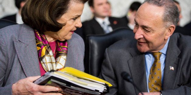 UNITED STATES - JANUARY 30: Sen. Dianne Feinstein, D-Calif., and Sen. Chcuk Schumer, D-N.Y., talk before the start of the Sen