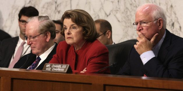 WASHINGTON, DC - SEPTEMBER 26:  Committee chairman Sen. Dianne Feinstein (D-CA) (C), ranking member Sen. Saxby Chambliss (R-G