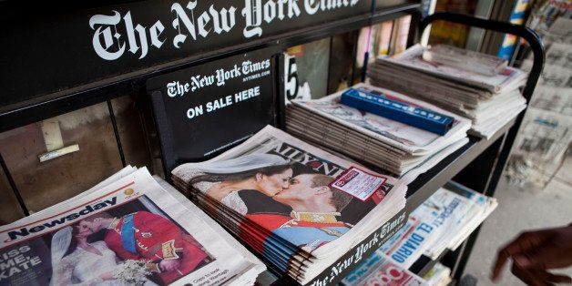 NEW YORK, NY - APRIL 30:  A newsstand displays newspapers with images of the royal wedding of TRH Prince William, Duke of Cam