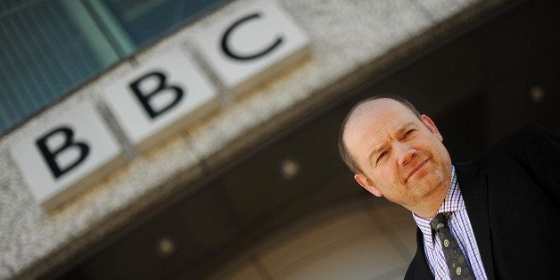 British Broadcasting Corporation (BBC) director general Mark Thompson is pictured outside the BBC's Television Centre in Whit