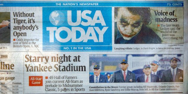 LONG BEACH, CA - JULY 16:  A USA Today newspaper is seen on a stand July 16, 2008 in Long Beach, California. Second-quarter p