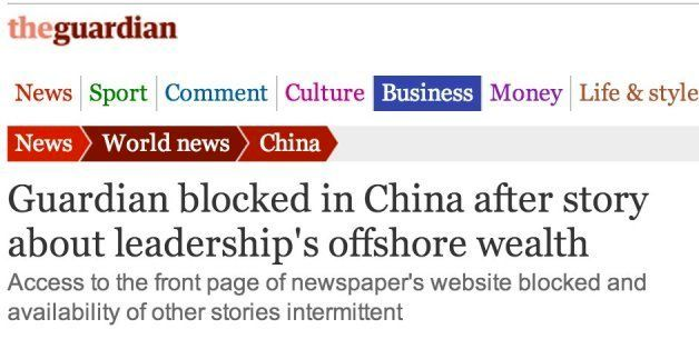 Newspaper Websites Blocked In China After Reports About Chinese Leaders Wealth