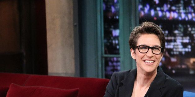 LATE NIGHT WITH JIMMY FALLON -- Episode  924 -- Pictured: (l-r) MSNBC's Rachel Maddow with host Jimmy Fallon during an interv