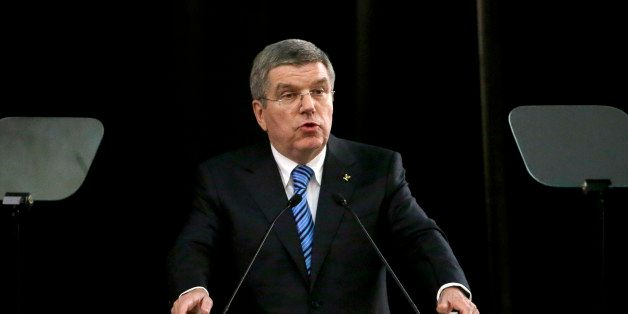President of International Olympic Committee Thomas Bach delivers his speech at a welcoming event of IOC ahead of the 2014 Wi