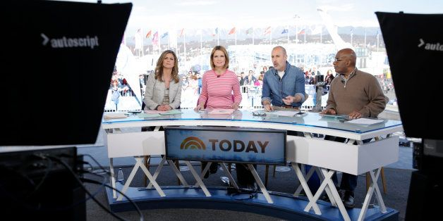 TODAY -- Pictured: (l-r) Natalie Morales, Savannah Guthrie, Matt Lauer from the 2014 Olympics in Socci -- (Photo by: Joe Scar