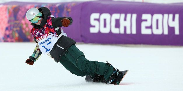 SOCHI, RUSSIA - FEBRUARY 09:  Sarka Pancochova of Czech Republic competes in her Women's Snowboard Slopestyle Finals during d