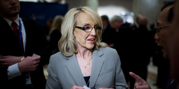 UNITED STATES - FEBRUARY 22: Arizona Governor Jan Brewer speaks with attendees of the National Governors Association Winter M
