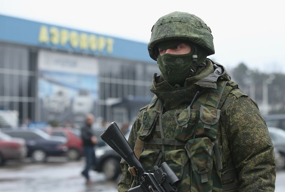 SIMFEROPOL, UKRAINE - FEBRUARY 28:  A soldier, one of approximately 20 who were wearing no identifying insignia and declined