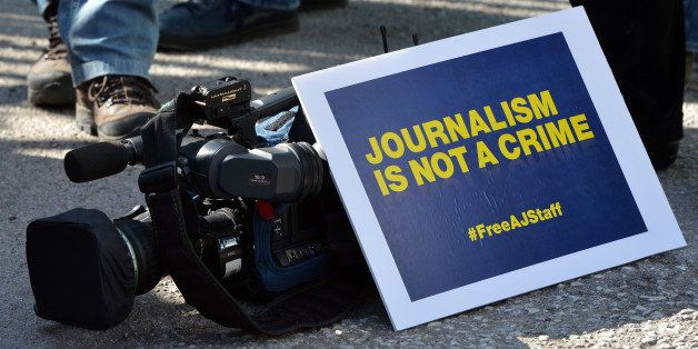 ANKARA - TURKEY - FEBRUARY 27: A group of Al Jazeera Arabic journalists gather to demonstrate outside the Egypt Embassy build