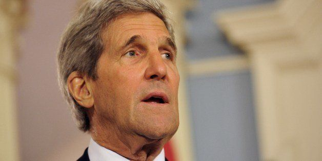 US Secretary of State John Kerry talks to the media prior to his talks with the Egyptian Foreign Minister Nabil Fahmy in Wash