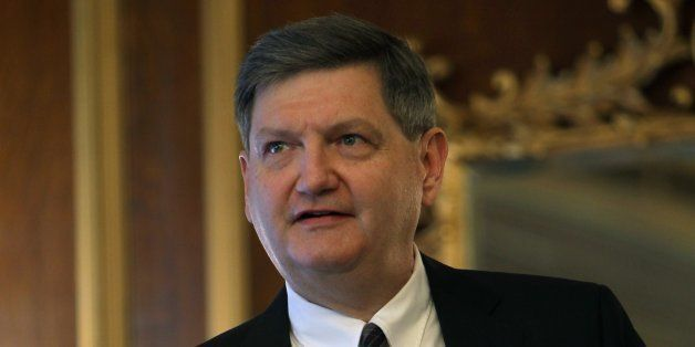 BOSTON - FEBRUARY 7: James Risen, a Pulitzer Prize winning journalist  for the New York Times speaks after receiving the 2014