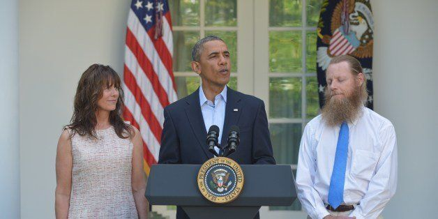 US President Barack Obama speaks during a previously unscheduled appearance in the Rose Garden of the White House on May 31,