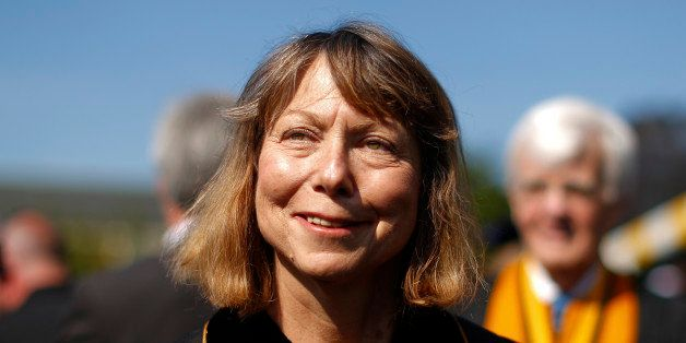 WINSTON SALEM, NC:  Jill Abramson, former executive editor at the New York Times walks in with faculty and staff during comme