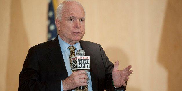 PHOENIX, AZ - MAY 9: Sen. John McCain (R-AZ) speaks during a forum with Arizona Veterans over mismanagement at the Phoenix VA
