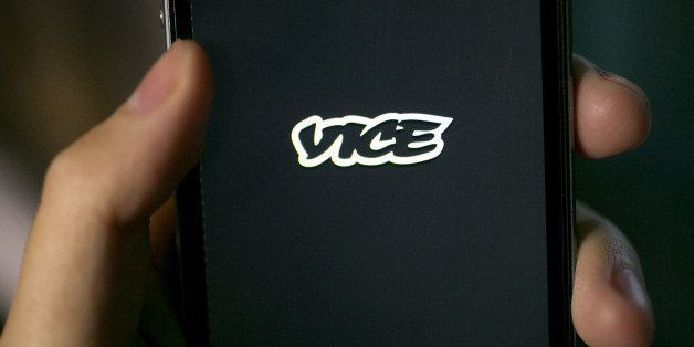 The Vice Media Inc. application (app) is displayed on an Apple Inc. iPhone 5s for an arranged photograph in Washington, D.C.,
