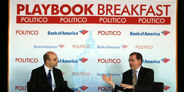 WASHINGTON, DC - NOVEMBER 28:  Grover Norquist (R), president of Americans for Tax Reform, speaks as Politico Chief White Hou