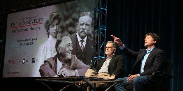 BEVERLY HILLS, CA - JULY 22:  Writer Geoffrey C. Ward (L) and Filmmaker Ken Burns speak onstage during the PBS Press tour  'K