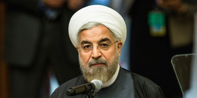 NEW YORK, NY - SEPTEMBER 23:  Iranian President Hassan Rouhani speaks at the United Nations Climate Summit on September 23, 2