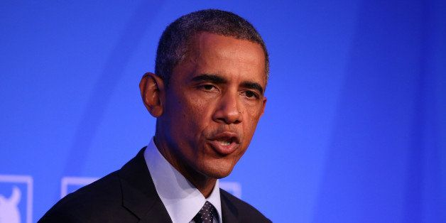 NEWPORT, WALES - SEPTEMBER 5:  US President Barack Obama speaks during a press conference on day two of the 2014 NATO Summit