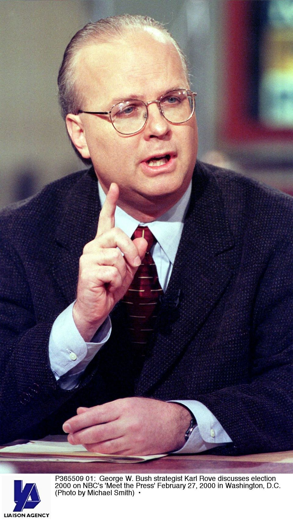 "Feb. 27, 2000: George W. Bush strategist Karl Rove discusses the 2000 Election on NBC's ""Meet the Press"" (Photo by Michael Sm"